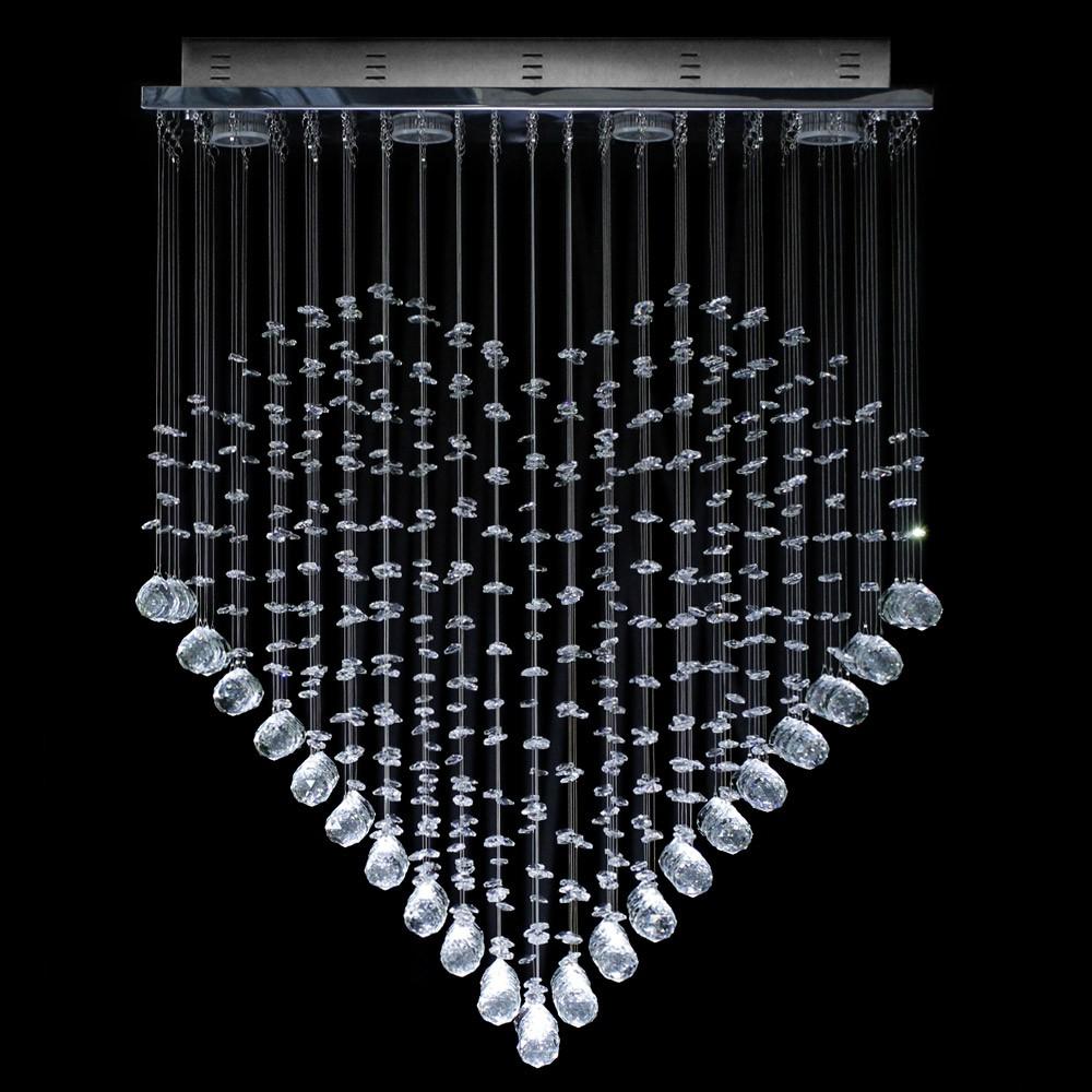 Lustre De Cristal Original Em Formato De Cora O Plafon Retangular  -> Lustre Embutido Sala De Jantar